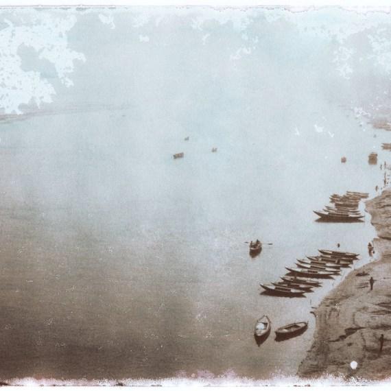 ©OSKAR LANDI-ALSO IN INDIA #15- color. framed print, river Ghanges, fishing boats