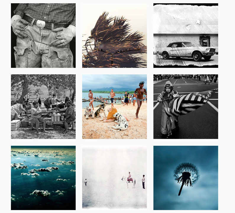 Montage of images from the Helen Jones-Florio Gallery photographers, taken from Instagram
