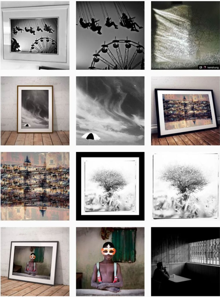 Montage of images from Instagram, from the Helen Jones-Florio gallery photographers