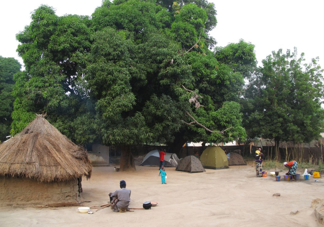 Camping in the chiefs compound, in Kabba Kunda, Basse, The Gambia, West Africa © Jason Florio
