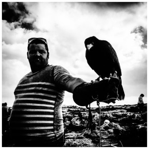 'Falcom Man' Malta © Jason Florio. BW a man holds with his pet falcon on his arm
