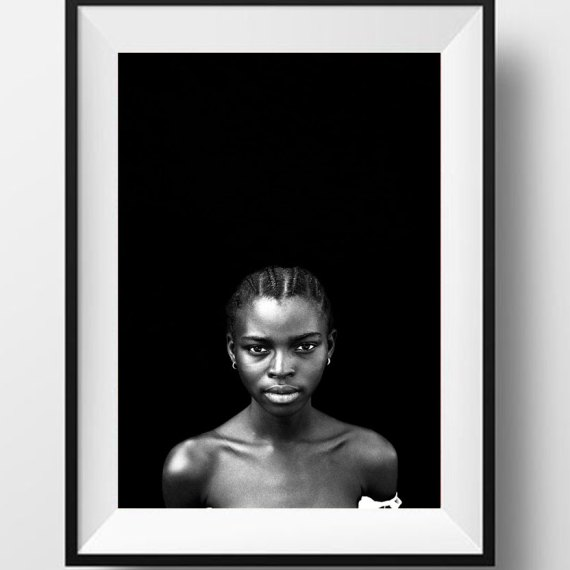 Black and white portrait pretty young black girl, Gambia, W Africa 'IDA, STUDENT', © Jason Florio