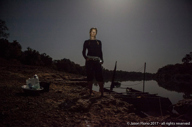 Photography Prints Gallery - Helen Jones-Florio, River Gambia Expedition producer, camping by the River Gambia, Genoto, The Gambia, West Africa © Jason Florio