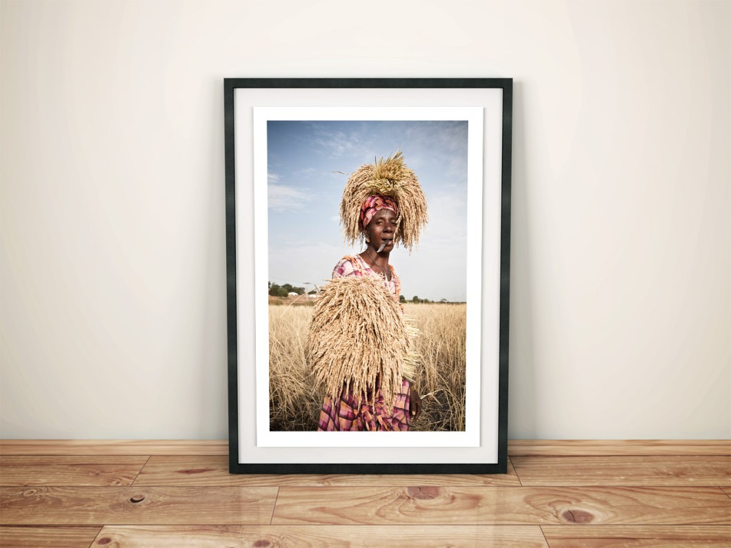 Fine art photography prints - 'Rice Lady' © Jason Florio - Framed print, color, The Gambia West Africa, 2012