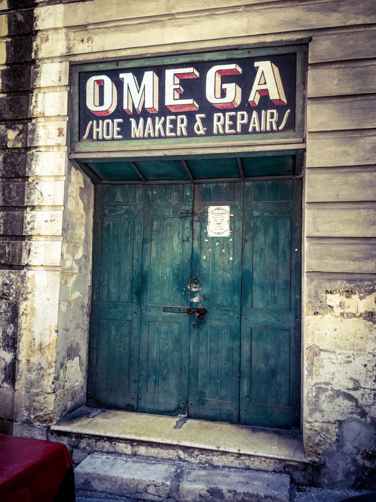 disappearingMalta - Vintage storefront 'Omega Shoe Maker & Repairs', Bormla, Malta ©Helen Jones-Florio photography prints