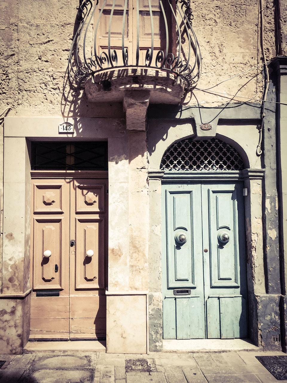 disappearingMalta - Two doors and balcony, Vjal il-Labour, Naxxar, Malta ©Helen Jones-Florio photography prints