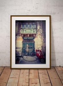 disappearingMalta - Vintage storefront, green wooden doors and motorcyle Malta ©Helen Jones-Florio photography prints