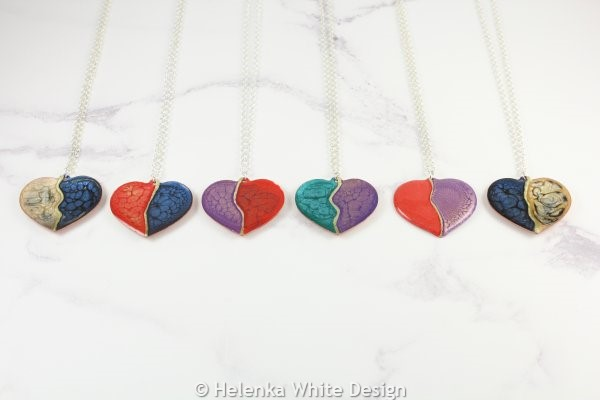 Painted copper heart pendants in various colour combinations.