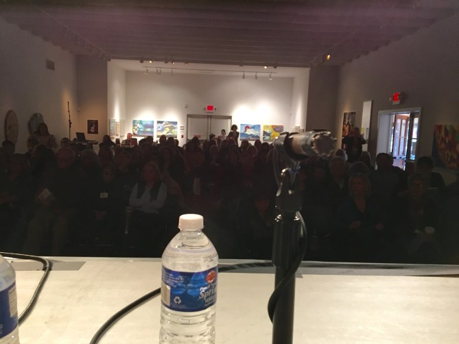 behind the mic before Fiction Panel