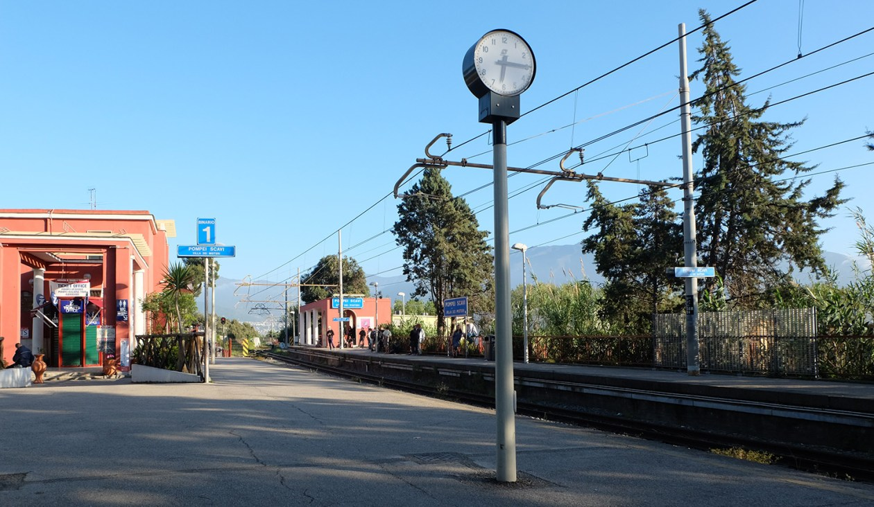 Pompei Scavi train station on the Circumvesuviana railway line between Naples and Sorrento