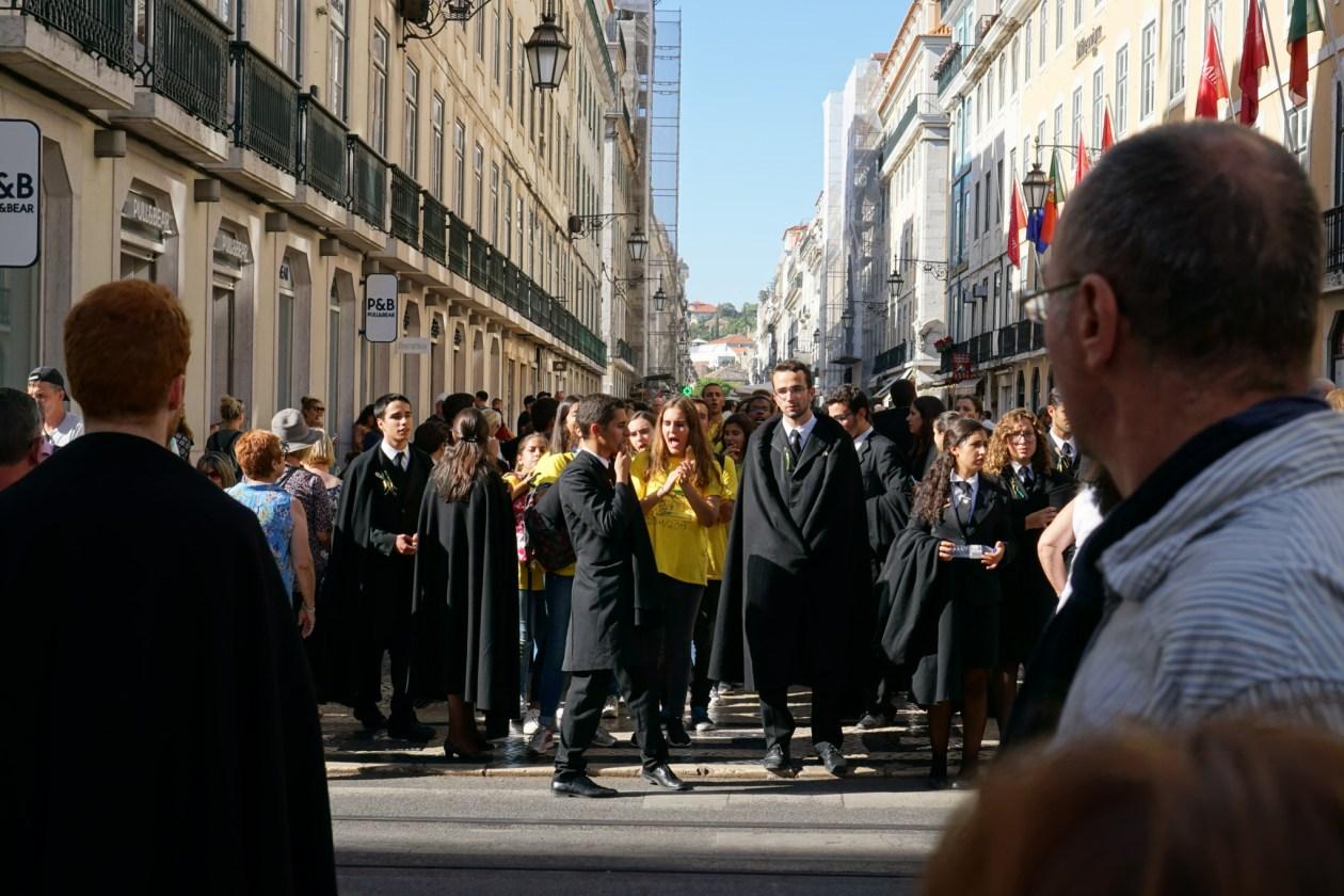 Groups of new students in Lisbon's Baixa neighbourhood