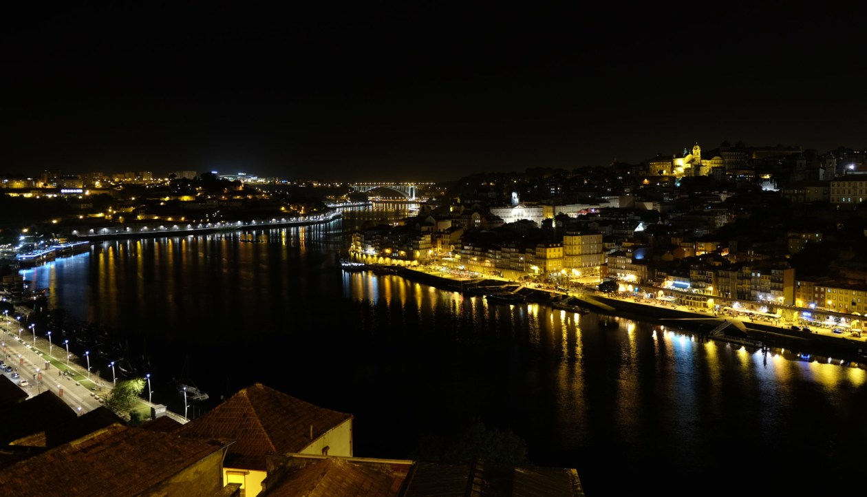 The view from the Dom Luís I Bridge at night