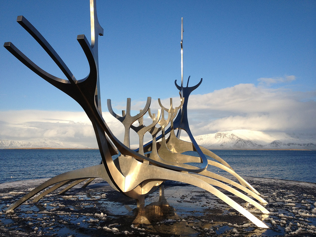 The Sun Voyager sculpture on the seafront in Reykjavik