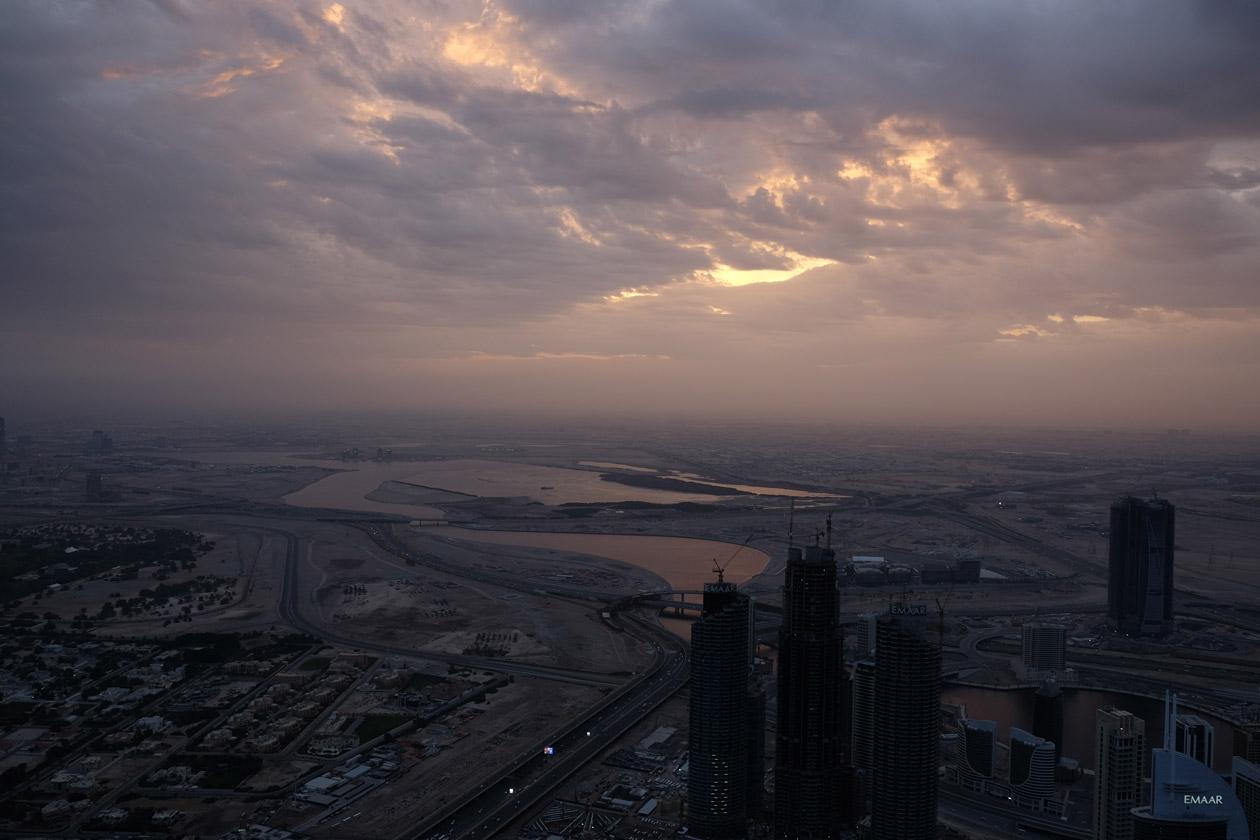 The sunrise reflecting off the Dubai Creek