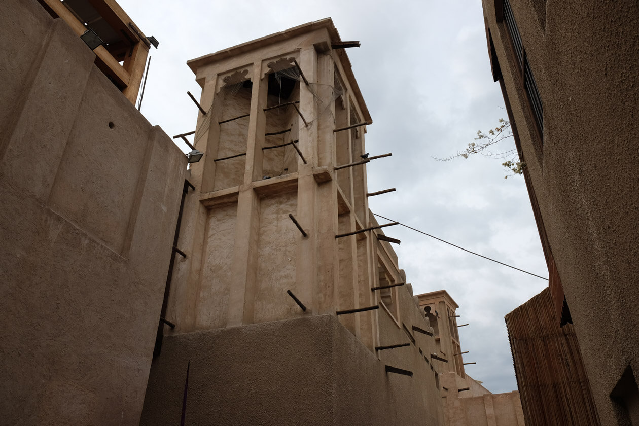 A traditional wind tower in Bastakia Quarter