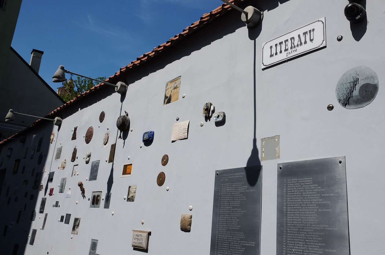 Literatu Gatve, where Lithuanian authors are honoured with tiny artworks embedded into the walls