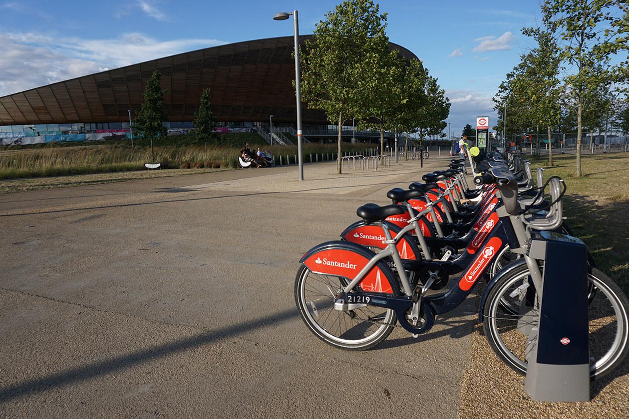 """Boris Bikes"" lined up outside the Velodrome"