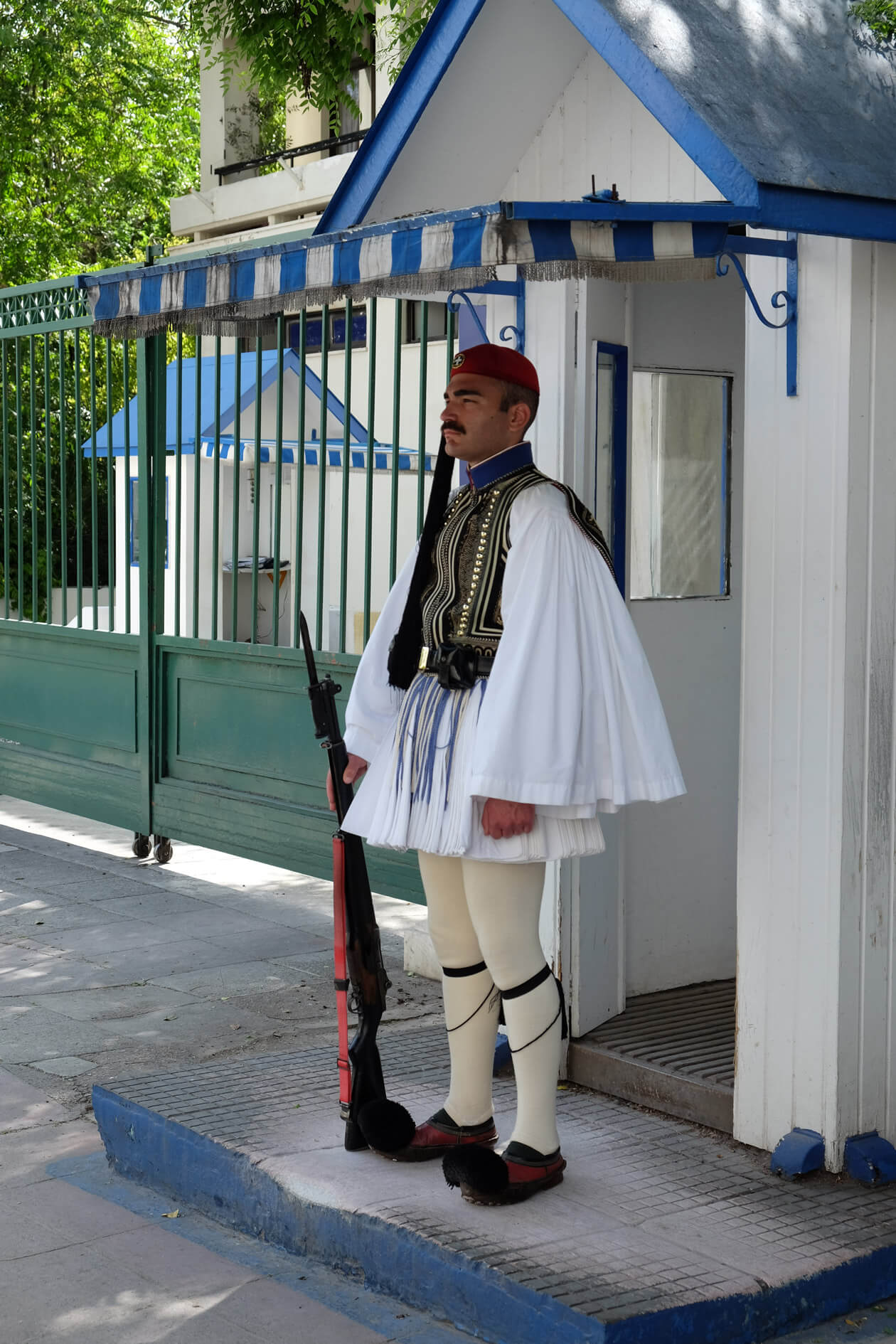 A Presidential Guard, or Evzone, at his post