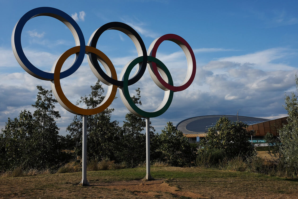 The Olympic Rings at the site of the 2012 London Olympics