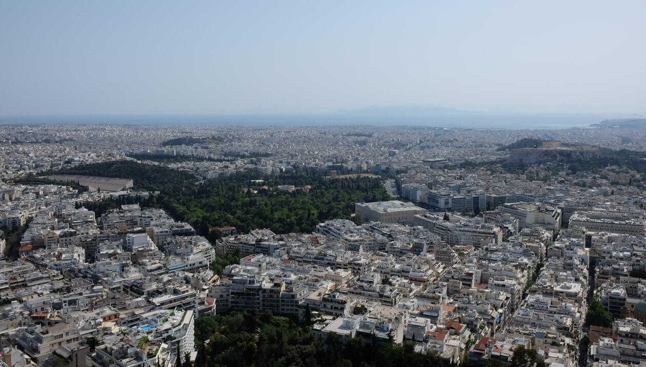 The view from the top of Lycabettus Hill, with the Panathenaic Stadium on the left and the Acropolis on the right
