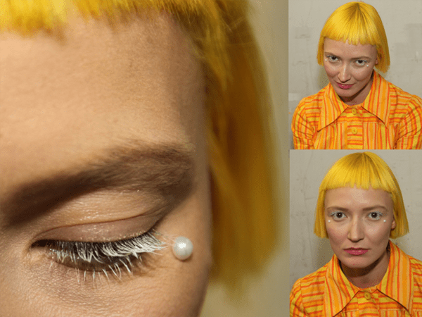 Yellow Hair Pearls Under Eyes NYFW - 2018