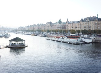 along the river in Stockholm