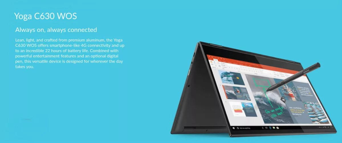 Yoga C630 WOS Laptop Tablet with 24 7 LTE Connectivity Lenovo UK