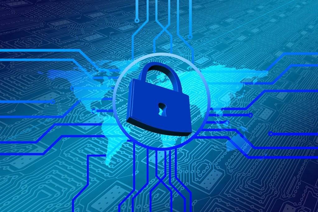 Blaues Schloss mit Daten Codes in blau