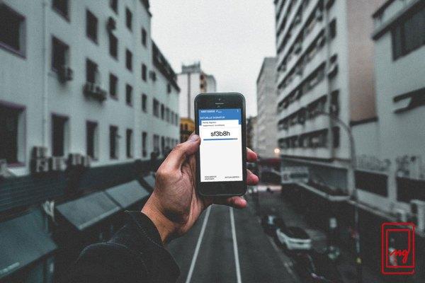 Smartphone with app running in street