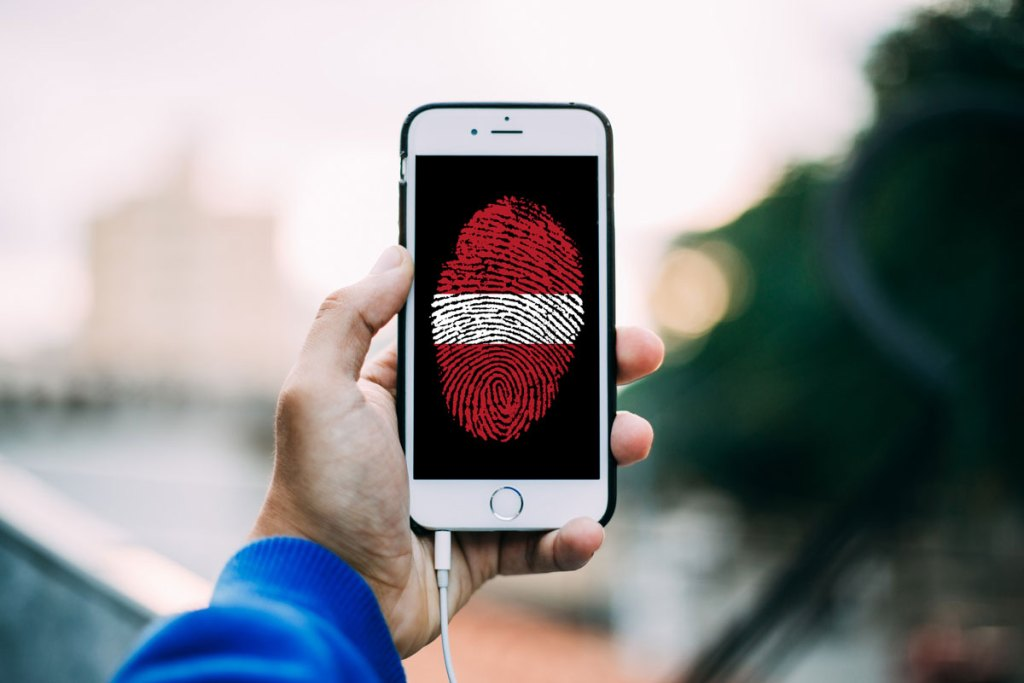 Smartphone mit Fingerabdruck