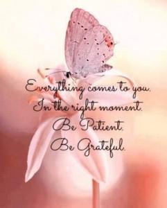 Alt kommer til deg i det rette øyeblikket. Vær tålmodig og takknemlig.