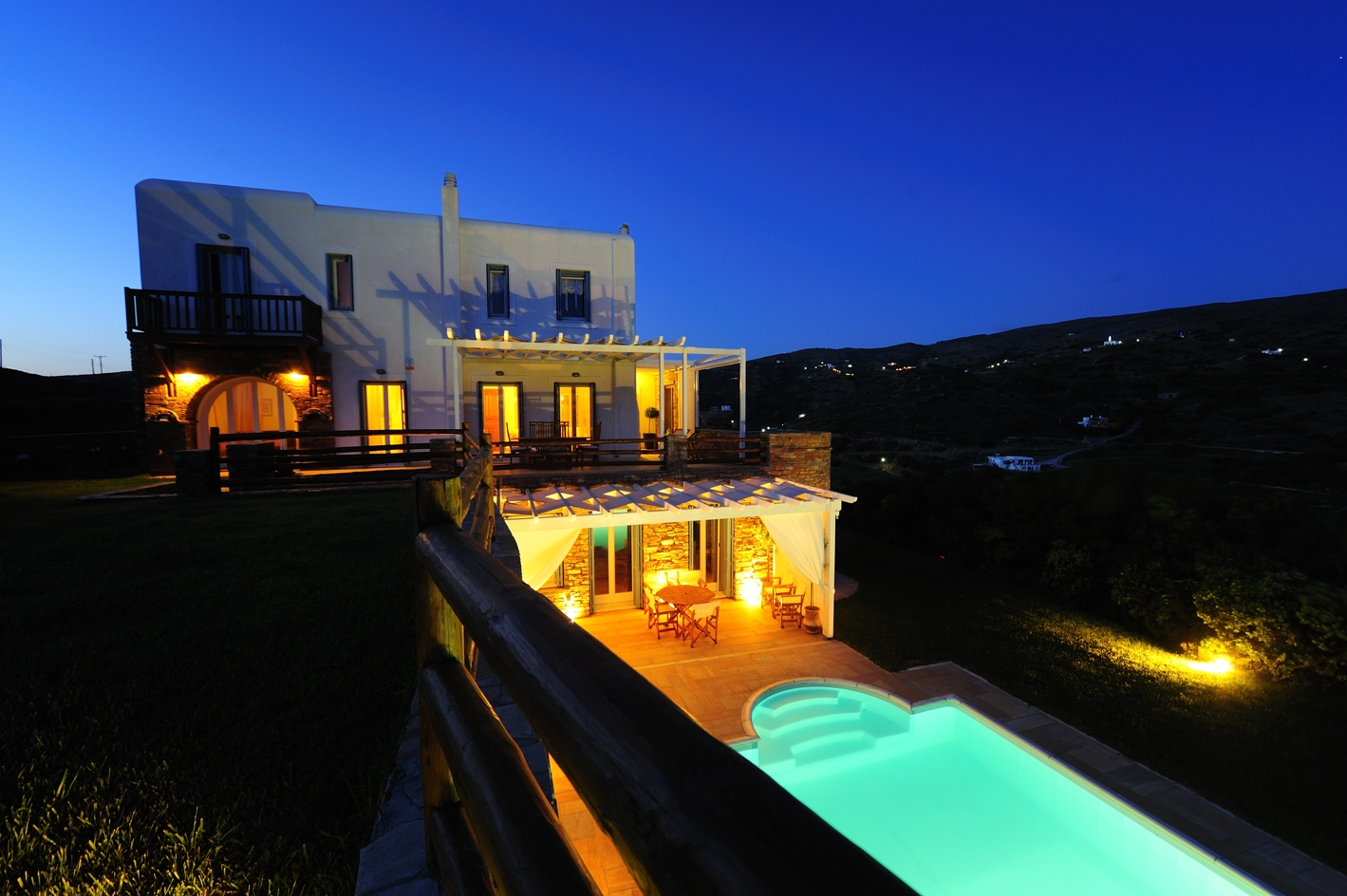 Villa Phivi with the evening lights on