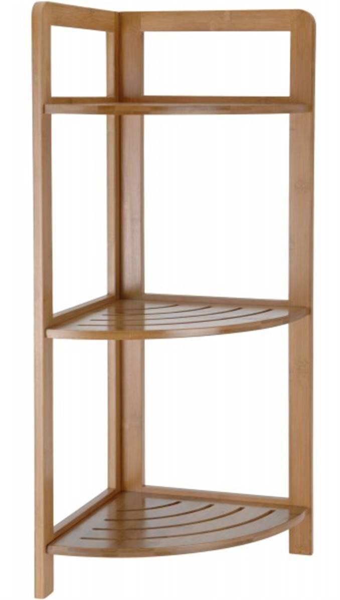 etagere de rangement d angle en bambou pour salle de bain