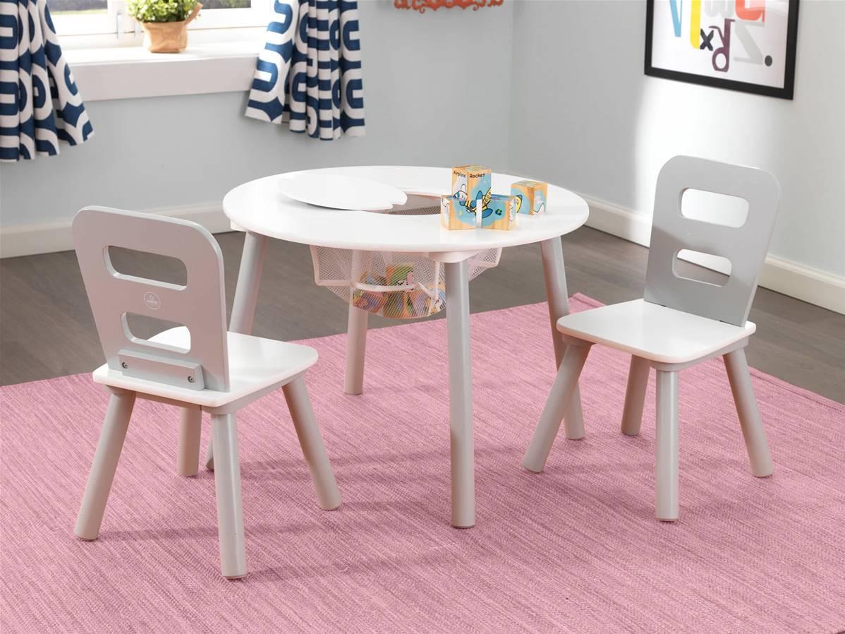 table ronde 2 chaises en bois design pour enfant gris et blanc