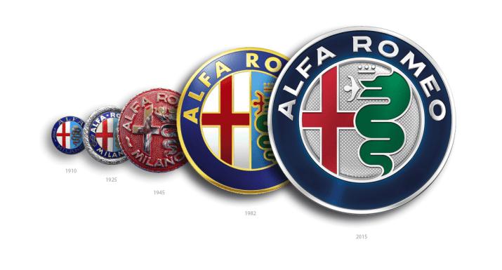 διάφορα λογότυπα της Alfa Romeo