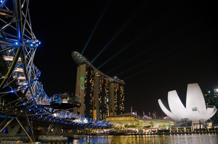 Singapore's futuristic Marina Bay harbor lights up for the 2012 F1 Singapore Grand Prix.