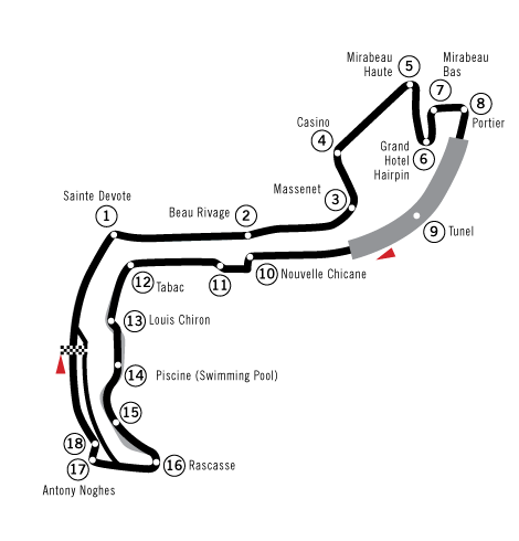 A map illustrating the course of the Circuit de Monaco.