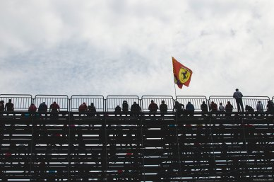 Grandstands at Turn 1 are filled with spectators during the Friday practice session.