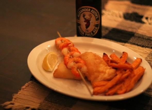 Beer-Battered Fish Filets with Garlic Prawns