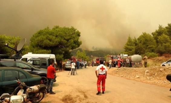 Λήξη της αποστολής του Ελληνικού Ερυθρού Σταυρού Περιφερειακό Τμήμα Χαλκίδας στην πυρκαγιά στο Μακρυμάλλη Ευβοίας
