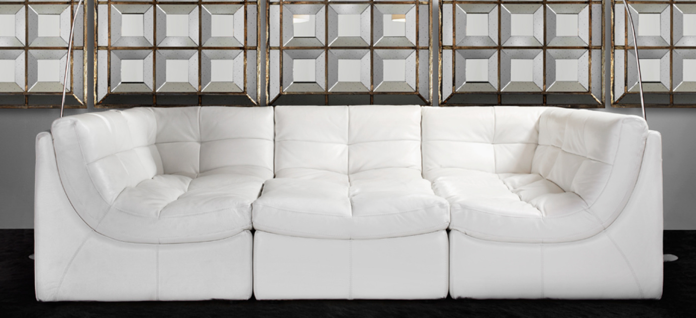 White Armless Accent Chair