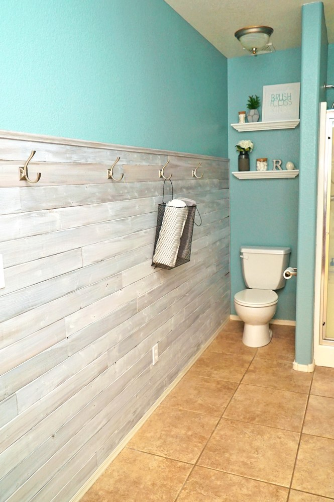 master bathroom makeover - wood accent wall new paint and farmhouse decor