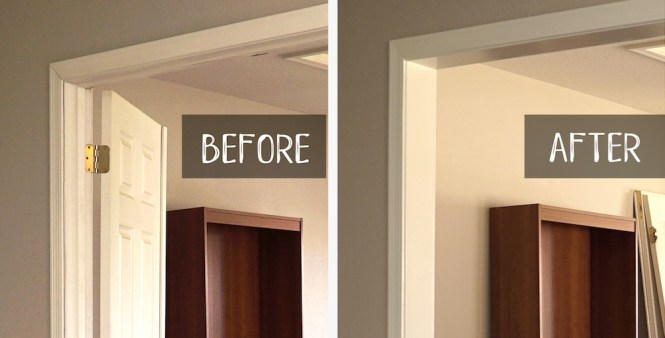 frame a doorway for barn doors - before and after