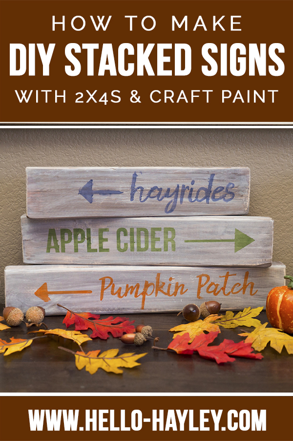 2x4 stacked sign fall decor with fall leaves and text of hayrides, apple cider, and pumpkin patch
