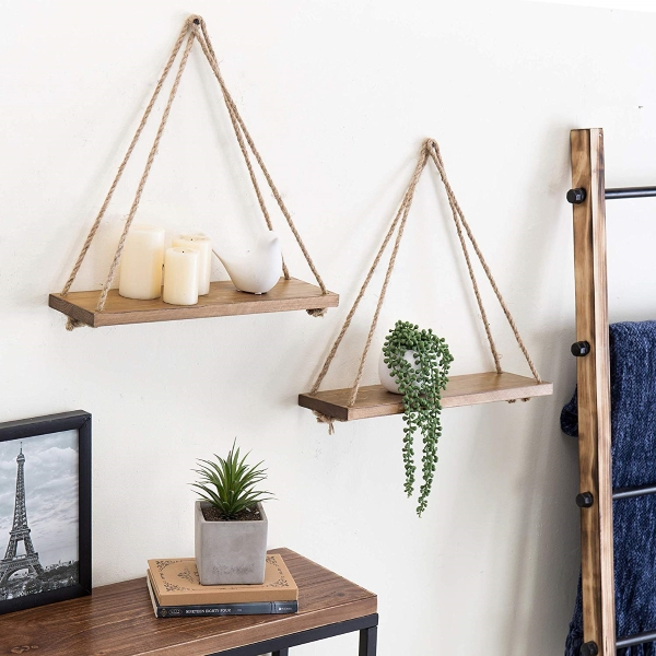 floating rope shelves for minimalist decor