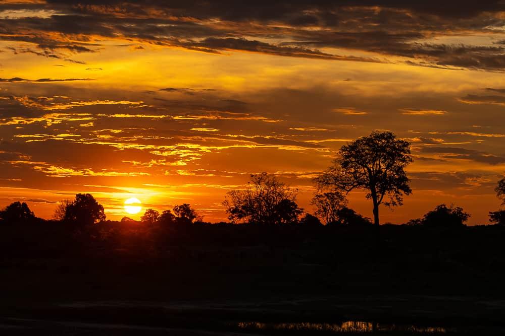 Sonnenuntergang im Hwange