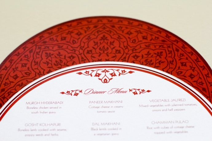 circular menu card with mehndi pattern