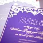 purple and gold foil luxury invitation