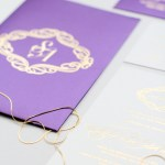 purple silk folio with gold foil pressed