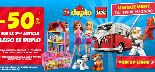 Bon plan Maxi Toys : -50% sur le second set LEGO ou DUPLO